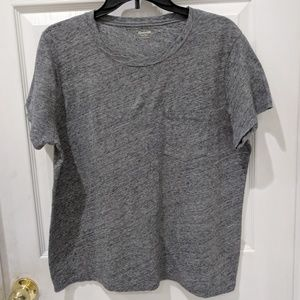 Madewell Grey Cotton Pocket Tee with Short Sleeves